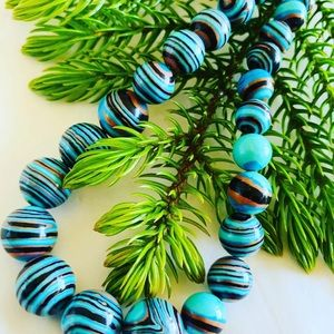 Jasper Stripe Turquoise Beads Necklace 8MM